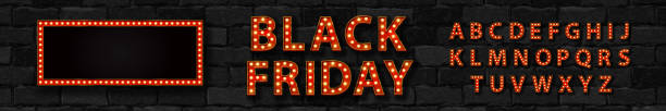 Vector realistic isolated marquee sign of Black Friday logo with broadway frame and light bulb font for template decoration and covering on the wall background. Vector realistic isolated marquee sign of Black Friday logo with broadway frame and light bulb font for template decoration and covering on the wall background. black friday sale neon stock illustrations
