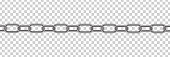 Vector realistic isolated metal silver chain for decoration and template covering on the transparent background.