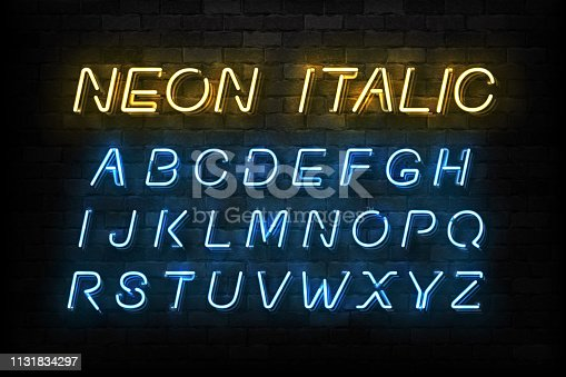 Vector realistic isolated Neon Italic font for template decoration and layout covering on the wall background.