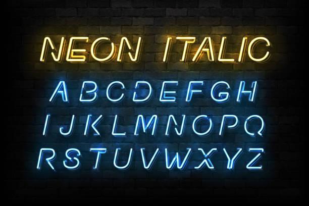 wektor realistyczne izolowane neon kursywa czcionka do dekoracji szablonu i układ obejmujące na tle ściany. - neon stock illustrations