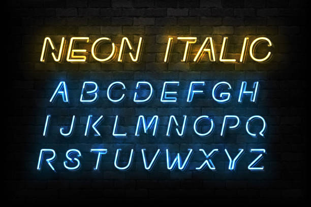 Vector realistic isolated Neon Italic font for template decoration and layout covering on the wall background. vector art illustration