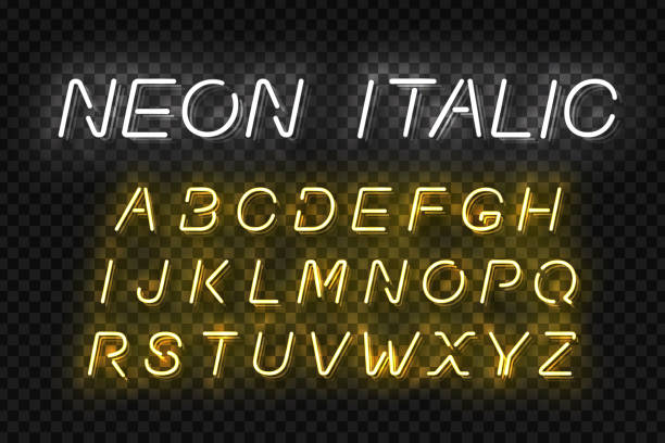 Vector realistic isolated Neon Italic Font for template decoration and mockup covering on the transparent background. vector art illustration