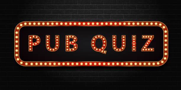 bildbanksillustrationer, clip art samt tecknat material och ikoner med vector realistiska isolerade marquee neonskylt pub quiz logotyp för dekoration och beläggning på väggen bakgrunden. - pub