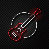 Vector realistic isolated neon retro sign of guitar on the transparent background for decoration and covering. Concept of music shop, dj, musical pub and rock concert.