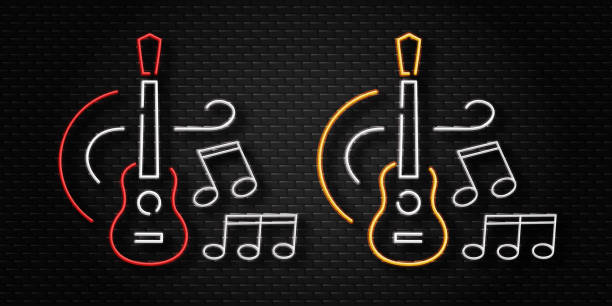 Neon Music Notes Background: Royalty Free Neon Music Note Clip Art, Vector Images