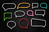 Vector realistic isolated neon retro speech bubbles on the wall background for decoration and covering.