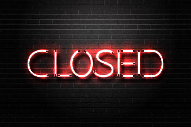 vector realistic isolated neon sign for closed lettering for decoration and covering on the wall background. - прикрывать stock illustrations
