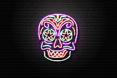 Vector realistic isolated neon sign for Dia de Muertos for decoration and covering on the wall background. Concept of Happy Day of the Dead in Mexico.