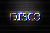 Vector realistic isolated neon sign for Disco lettering for decoration and covering on the wall background. Concept of night club, dj, rave and concert.