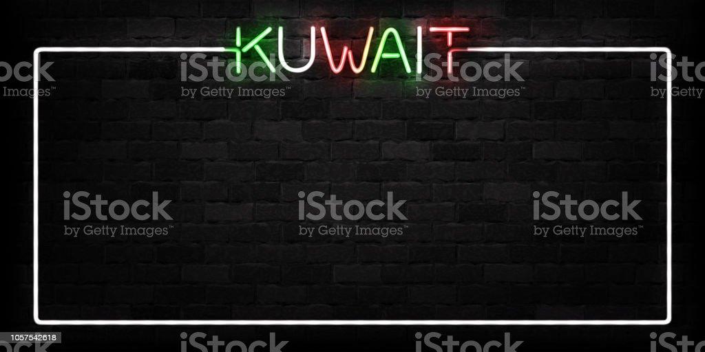 Realistische Vektor Isoliert Leuchtreklame Für Kuwait Frame Logo Für  Dekoration Und Verkleidung Auf Der Wand