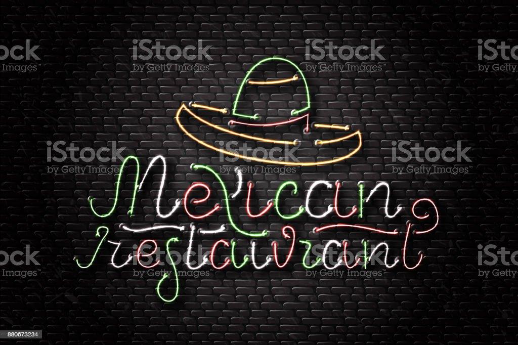 de151a46e985c Vectores realistas aisladas de neón para restaurante mexicano y sombrero  para decoración y revestimiento en el
