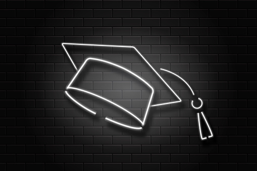 Vector realistic isolated neon sign graduation cap on the wall background for decoration and covering. Concept of education, graduation and back to school.