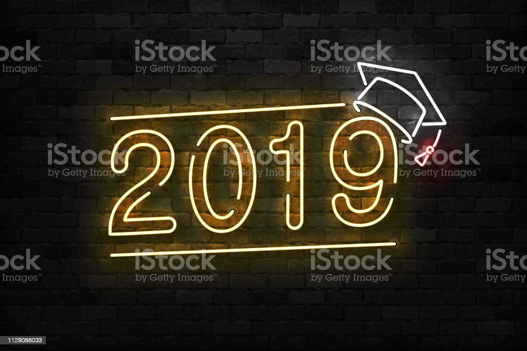 Vektor realistische isoliert Leuchtreklame 2019 Graduierung symbol für Vorlage Dekoration und Layout auf dem Hintergrund der Wand abdecken. – Vektorgrafik
