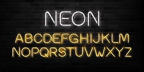Vector realistic isolated neon sign of alphabet font letters for decoration and covering on the wall background. vector art illustration