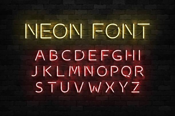 wektor realistyczne izolowane neony litery czcionki alfabetu do dekoracji szablonów i układu obejmujące na tle ściany. - neon stock illustrations