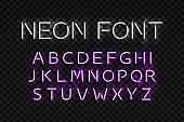 Vector realistic isolated neon sign of Alphabet Font letters with purple color for template decoration and layout covering on the transparent background.