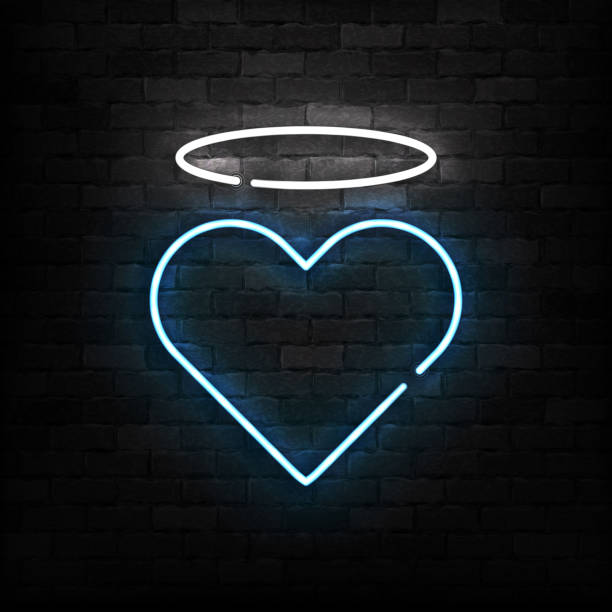 Vector realistic isolated neon sign of Angel Heart logo for template decoration and layout covering on the wall background. Concept of Happy Valentines Day. Vector realistic isolated neon sign of Angel Heart logo for template decoration and layout covering on the wall background. Concept of Happy Valentines Day. girlfriend stock illustrations