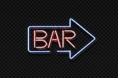 Vector realistic isolated neon sign of Bar lettering arrow for decoration and covering on the transparent background. Concept of night club, restaurant and cafe.