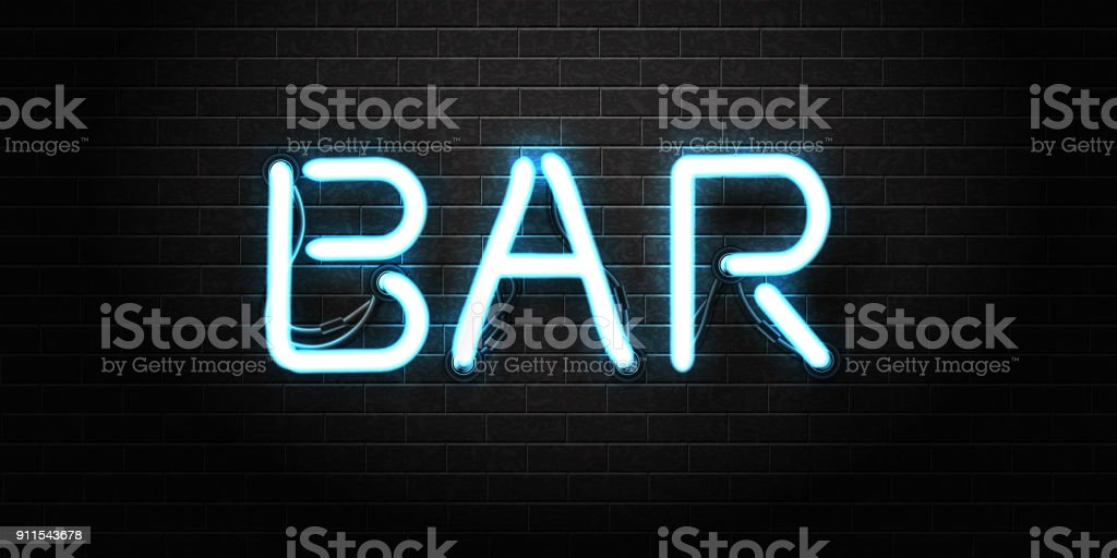 Vector realistic isolated neon sign of Bar lettering for decoration and covering on the wall background. Concept of night club, bar counter, cafe and restaurant. vector art illustration