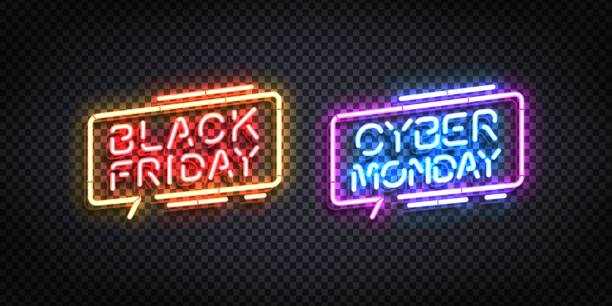 Vector realistic isolated neon sign of Black Friday and Cyber Monday logo for template decoration and invitation design. Vector realistic isolated neon sign of Black Friday and Cyber Monday logo for template decoration and invitation design. black friday sale neon stock illustrations