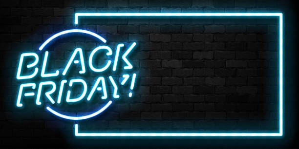 Vector realistic isolated neon sign of Black Friday frame for template decoration and invitation covering on the wall background. Concept of sale, special offer and discount. Vector realistic isolated neon sign of Black Friday frame for template decoration and invitation covering on the wall background. Concept of sale, special offer and discount. black friday sale neon stock illustrations