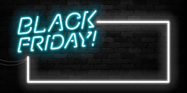 벽 배경에 덮여 템플릿 장식 및 초대에 대한 블랙 프라이데이 프레임 기호의 벡터 현실적인 고립 된 네온 기호. 판매 및 할인의 개념. - black friday stock illustrations