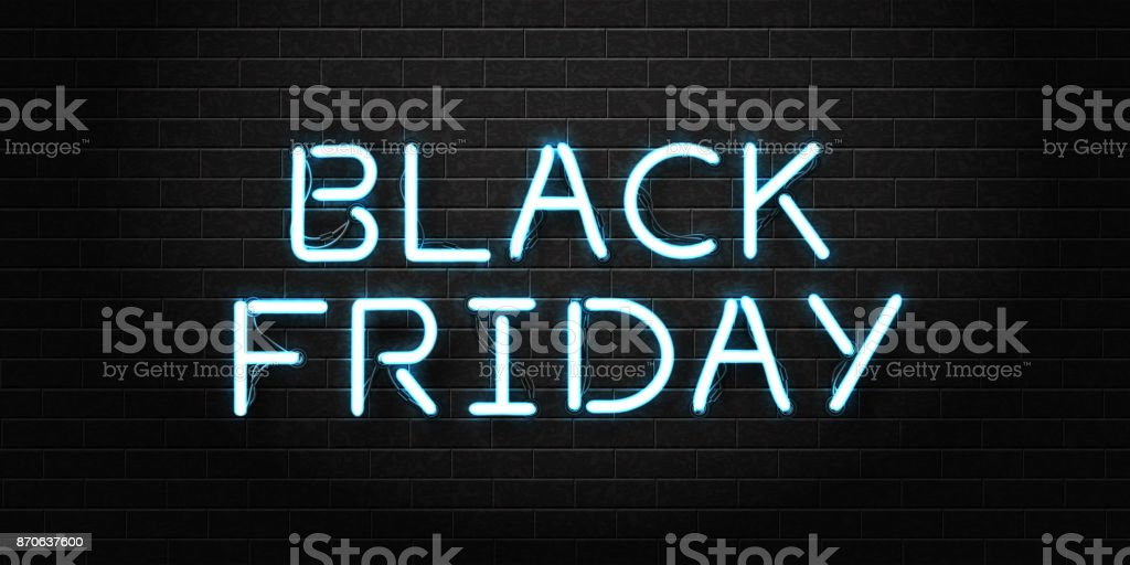 Vector realistic isolated neon sign of Black Friday lettering for decoration and covering on the transparent background. Concept of sale, clearance and discount. vector art illustration