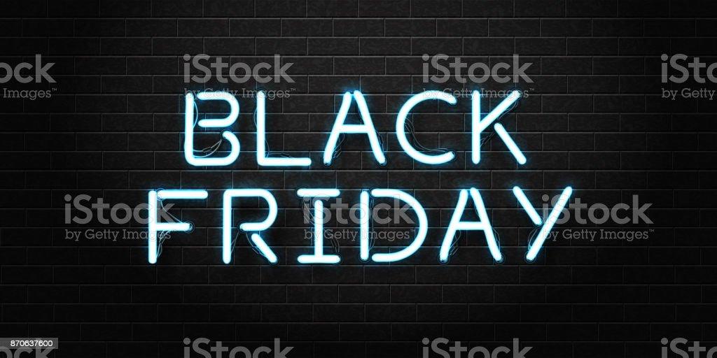 Vector realista isolado de néon de Black Friday letras para decoração e cobertura no plano de fundo transparente. Conceito de venda, afastamento e desconto. - ilustração de arte em vetor