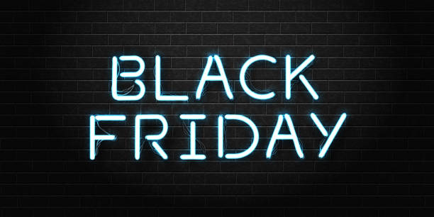 Vector realistic isolated neon sign of Black Friday lettering for decoration and covering on the transparent background. Concept of sale, clearance and discount. Vector realistic isolated neon sign of Black Friday lettering for decoration and covering on the transparent background. Concept of sale, clearance and discount. black friday sale neon stock illustrations
