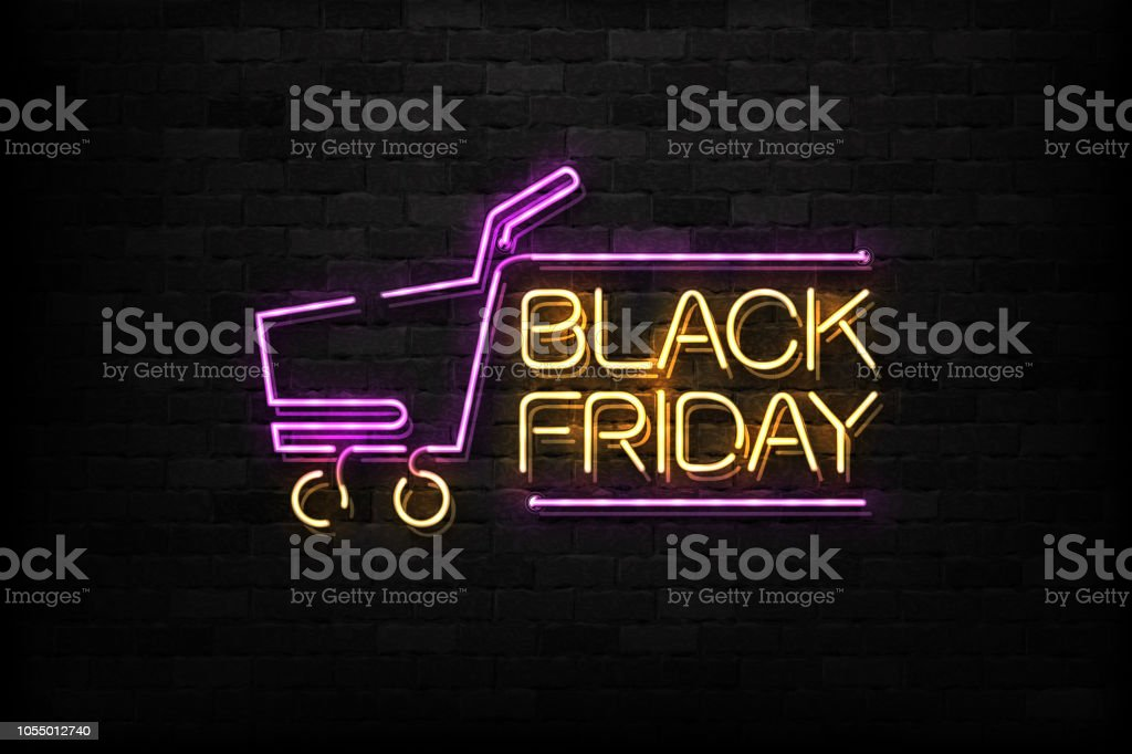 Vector realistic isolated neon sign of Black Friday logo for decoration and covering on the wall background. Concept of sale and discount. - Royalty-free 2019 arte vetorial