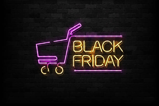 Vector realistic isolated neon sign of Black Friday logo for decoration and covering on the wall background. Concept of sale and discount. Vector realistic isolated neon sign of Black Friday logo for decoration and covering on the wall background. Concept of sale and discount. black friday sale stock illustrations
