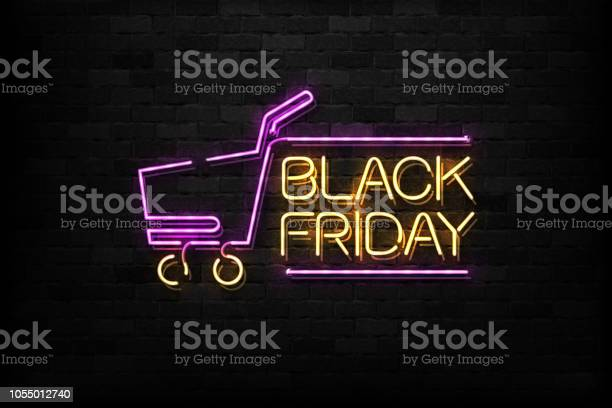 Vector Realistic Isolated Neon Sign Of Black Friday Logo For Decoration And Covering On The Wall Background Concept Of Sale And Discount - Arte vetorial de stock e mais imagens de 2019