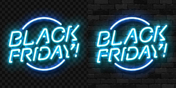 Vector realistic isolated neon sign of Black Friday symbol for template decoration and invitation covering on the wall and transparent background. Concept of sale, special offer and discount. Vector realistic isolated neon sign of Black Friday symbol for template decoration and invitation covering on the wall and transparent background. Concept of sale, special offer and discount. black friday sale neon stock illustrations