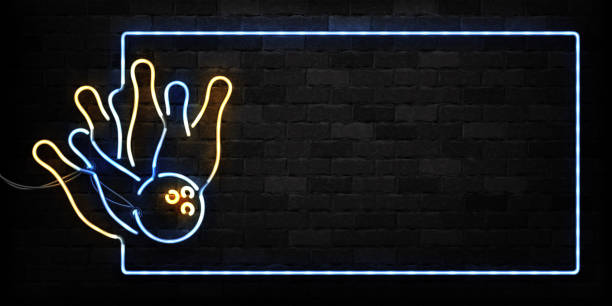 Vector realistic isolated neon sign of Bowling frame logo for decoration and covering on the wall background. Concept of game sport and bowling club. Vector realistic isolated neon sign of Bowling frame logo for decoration and covering on the wall background. Concept of game sport and bowling club. ten pin bowling stock illustrations