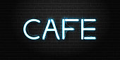 Vector realistic isolated neon sign of Cafe lettering for decoration and covering on the wall background. Concept of night club, restaurant and bar.
