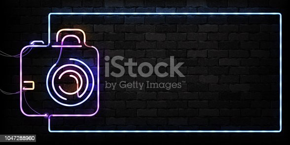 Vector realistic isolated neon sign of Camera frame logo for decoration on the wall background. Concept of photographer profession, cinema studio and creative process.