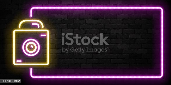 Vector realistic isolated neon sign of Camera frame symbol for template decoration on the wall background. Concept of photographer profession, cinema studio and creative process.