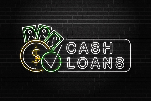 Vector Realistic Isolated Neon Sign Of Cash Loans Logo For ...