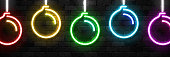 Vector realistic isolated neon sign of Christmas Balls border icon for template decoration and invitation covering on the wall background. Concept of Merry Christmas and Happy New Year.