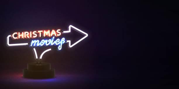 illustrazioni stock, clip art, cartoni animati e icone di tendenza di vettore realistico segno al neon isolato dei film di natale per la decorazione di invito. concetto di cinema e felice festa di capodanno. - christmas movie