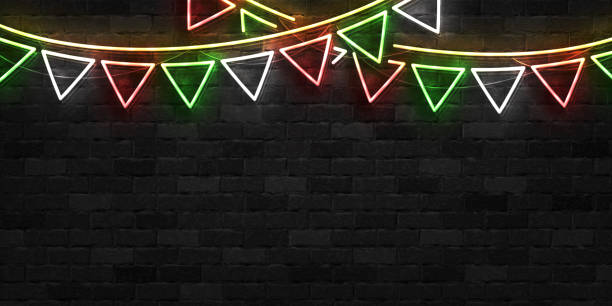 Vector realistic isolated neon sign of Cinco De Mayo party flags template for invitation covering on the wall background. Concept of Viva Mexico. Vector realistic isolated neon sign of Cinco De Mayo party flags template for invitation covering on the wall background. Concept of Viva Mexico. margarita stock illustrations