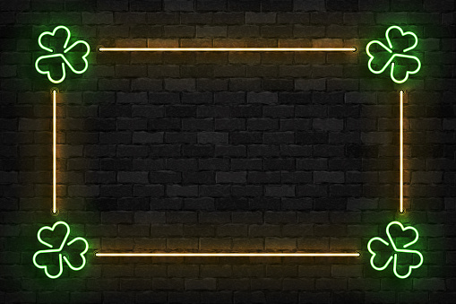 Vector realistic isolated neon sign of Clover frame logo for template decoration and invitation covering on the wall background. Concept of Happy St. Patrick's Day.