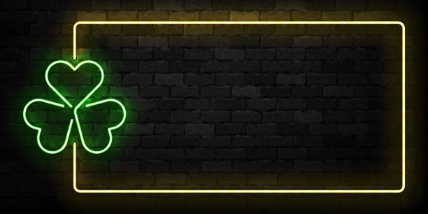 Vector realistic isolated neon sign of Clover frame logo for template decoration and covering on the wall background. Concept of Happy St. Patrick's Day. Vector realistic isolated neon sign of Clover frame logo for template decoration and covering on the wall background. Concept of Happy St. Patrick's Day. good luck charm stock illustrations