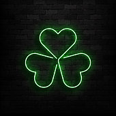 Vector realistic isolated neon sign of Clover logo for template decoration and covering on the wall background. Concept of Happy St. Patrick's Day.