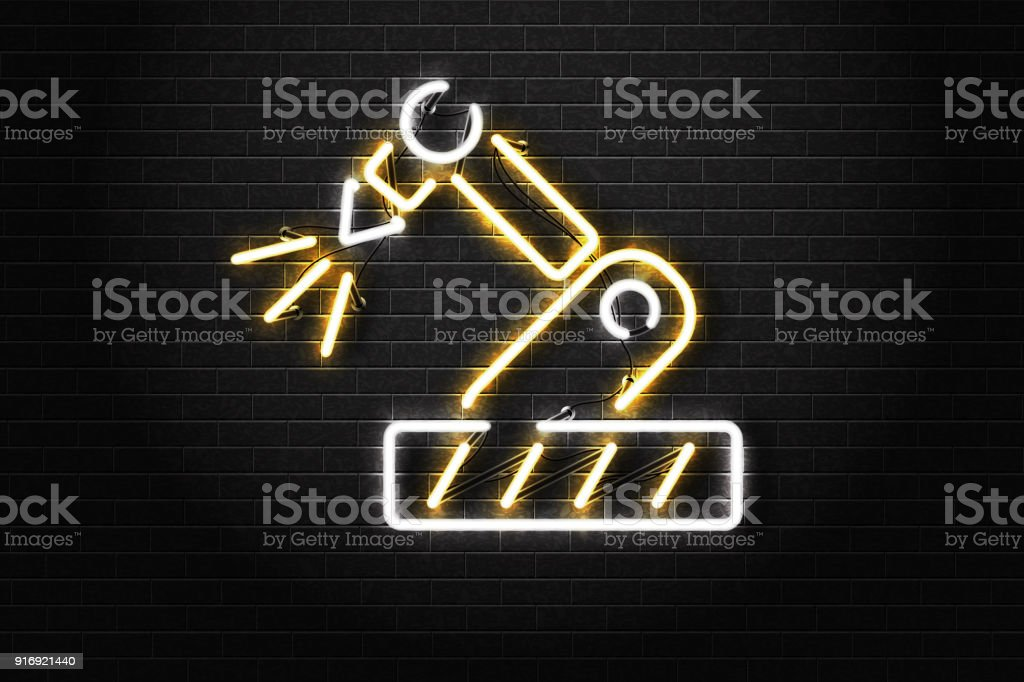 Vector realistic isolated neon sign of CNC machine for decoration and covering on the wall background. Concept of engineering, robot industry, laser cutting and manufacture. vector art illustration