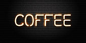 Vector realistic isolated neon sign of coffee for decoration and covering on the wall background. Concept of coffee house, cafe or restaurant.
