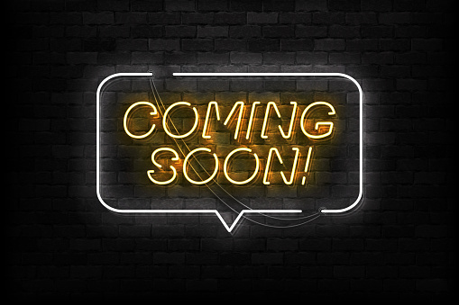Vector Realistic Isolated Neon Sign Of Coming Soon Logo ...