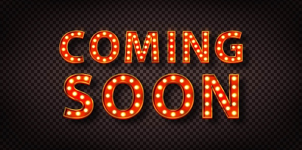 Vector realistic isolated neon sign of Coming Soon logo with copy space for template decoration and layout covering.