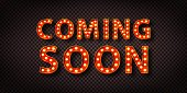 istock Vector realistic isolated neon sign of Coming Soon logo with copy space for template decoration and layout covering. 1285819370