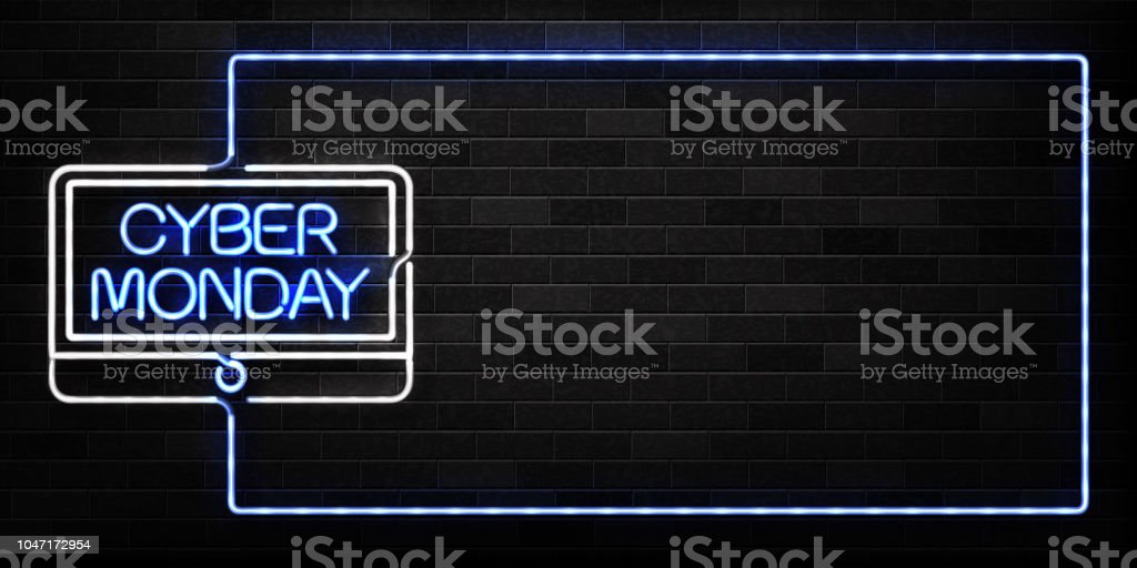 Vector realistic isolated neon sign of Cyber Monday frame logo for decoration and covering on the wall background. Concept of electronics market, sale and discount. - Векторная графика Баннер - знак роялти-фри